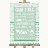 Winter Green Grab A Bag Candy Buffet Cart Sweets Customised Wedding Sign
