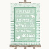 Winter Green Guestbook Advice & Wishes Mr & Mrs Customised Wedding Sign