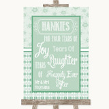 Winter Green Hankies And Tissues Customised Wedding Sign