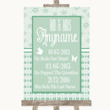 Winter Green Important Special Dates Customised Wedding Sign