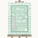 Winter Green Jenga Guest Book Customised Wedding Sign