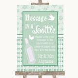 Winter Green Message In A Bottle Customised Wedding Sign