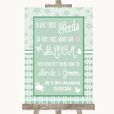 Winter Green Plant Seeds Favours Customised Wedding Sign