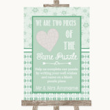Winter Green Puzzle Piece Guest Book Customised Wedding Sign