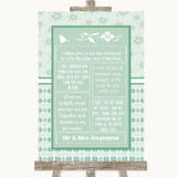 Winter Green Romantic Vows Customised Wedding Sign