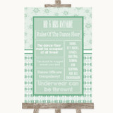 Winter Green Rules Of The Dance Floor Customised Wedding Sign