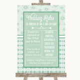 Winter Green Rules Of The Wedding Customised Wedding Sign