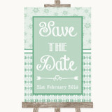 Winter Green Save The Date Customised Wedding Sign