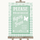 Winter Green Signing Frame Guestbook Customised Wedding Sign