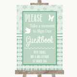 Winter Green Take A Moment To Sign Our Guest Book Customised Wedding Sign