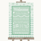 Winter Green Welcome Order Of The Day Customised Wedding Sign