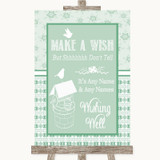Winter Green Wishing Well Message Customised Wedding Sign