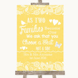 Yellow Burlap & Lace As Families Become One Seating Plan Wedding Sign