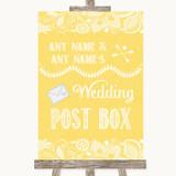 Yellow Burlap & Lace Card Post Box Customised Wedding Sign