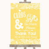 Yellow Burlap & Lace Cards & Gifts Table Customised Wedding Sign