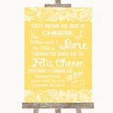 Yellow Burlap & Lace Cheese Board Song Customised Wedding Sign