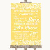 Yellow Burlap & Lace Cheesecake Cheese Song Customised Wedding Sign