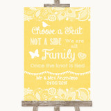 Yellow Burlap & Lace Choose A Seat We Are All Family Customised Wedding Sign