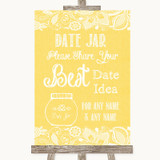 Yellow Burlap & Lace Date Jar Guestbook Customised Wedding Sign