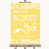 Yellow Burlap & Lace Don't Be Blinded Sunglasses Customised Wedding Sign
