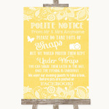 Yellow Burlap & Lace Don't Post Photos Facebook Customised Wedding Sign