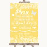 Yellow Burlap & Lace Don't Post Photos Online Social Media Wedding Sign