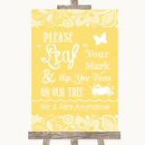 Yellow Burlap & Lace Fingerprint Tree Instructions Customised Wedding Sign