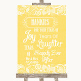 Yellow Burlap & Lace Hankies And Tissues Customised Wedding Sign