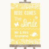 Yellow Burlap & Lace Here Comes Bride Aisle Sign Customised Wedding Sign
