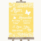 Yellow Burlap & Lace I Love You Message For Mum Customised Wedding Sign