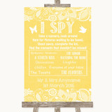 Yellow Burlap & Lace I Spy Disposable Camera Customised Wedding Sign