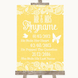 Yellow Burlap & Lace Important Special Dates Customised Wedding Sign