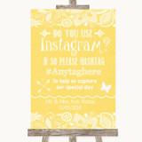 Yellow Burlap & Lace Instagram Photo Sharing Customised Wedding Sign