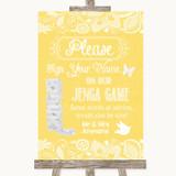 Yellow Burlap & Lace Jenga Guest Book Customised Wedding Sign