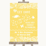Yellow Burlap & Lace Let Love Sparkle Sparkler Send Off Wedding Sign