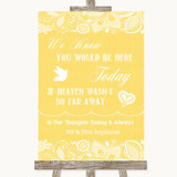 Yellow Burlap & Lace Loved Ones In Heaven Customised Wedding Sign