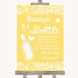 Yellow Burlap & Lace Message In A Bottle Customised Wedding Sign