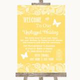 Yellow Burlap & Lace No Phone Camera Unplugged Customised Wedding Sign