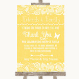 Yellow Burlap & Lace Photo Guestbook Friends & Family Customised Wedding Sign