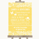 Yellow Burlap & Lace Pick A Prop Photobooth Customised Wedding Sign