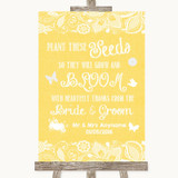 Yellow Burlap & Lace Plant Seeds Favours Customised Wedding Sign