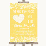 Yellow Burlap & Lace Puzzle Piece Guest Book Customised Wedding Sign
