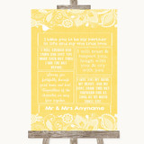Yellow Burlap & Lace Romantic Vows Customised Wedding Sign
