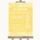 Yellow Burlap & Lace Rules Of The Dance Floor Customised Wedding Sign