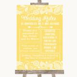 Yellow Burlap & Lace Rules Of The Wedding Customised Wedding Sign