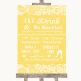 Yellow Burlap & Lace Signature Favourite Drinks Customised Wedding Sign