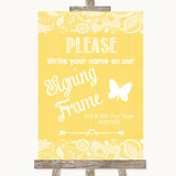 Yellow Burlap & Lace Signing Frame Guestbook Customised Wedding Sign