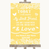 Yellow Burlap & Lace Today I Marry My Best Friend Customised Wedding Sign
