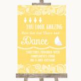 Yellow Burlap & Lace Toiletries Comfort Basket Customised Wedding Sign