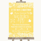 Yellow Burlap & Lace Wedpics App Photos Customised Wedding Sign